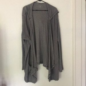 (3x) Drape Knit Hooded Striped Cardigan